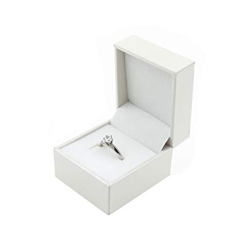 Verlobungsring Eheringe Box Hochwertige Ring-Schachtel Ringbox für Hochzeit Antragsring Antrag Valentinstag Verlobungs-ring Box (Creme)