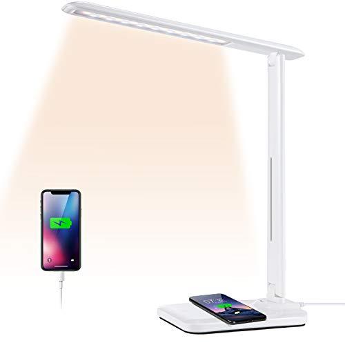 Schreibtischlampe LED, YISUN Büro Tischlampe Dimmbar USB,QI Kabellosem Laden Tischleuchte, 3 Farb und 6 Helligkeitsstufen Nachttischlampe,Touch-Steuerung, faltbare Augenschutz Schreibtischlampen