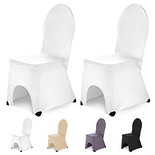 SCHEFFLER-Home Bella 2 Fundas de sillas del Banquete, Estirable Cubiertas, elástica Funda con pie Refuerzos, Blanco