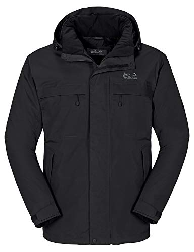 Jack Wolfskin Herren Wetterschutzjacke Wattiert North Country, black, XL, 1102294-6000005