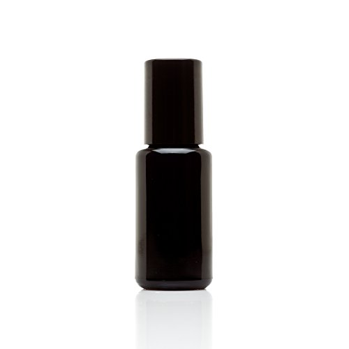 Infinity Jars 15 Ml (.5 fl oz) 10-PACK Set Black Ultraviolet Glass Bottle w/Glass Ball Roll on Tip