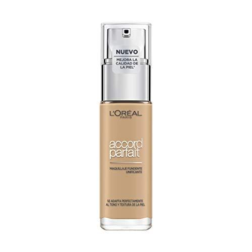 L Oréal Paris Accord Parfait, Base de maquillaje acabado natural con ácido hialurónico, tono piel medio 3.5N, 30 ml