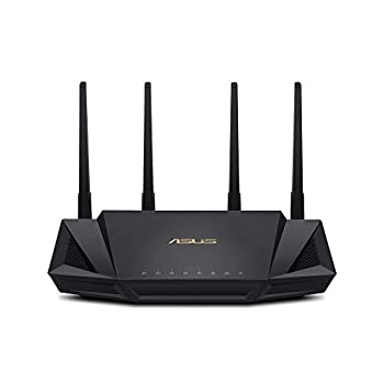 ASUS WiFi 6 Router  RT-AX3000  - Dual Band Gigabit Wireless Internet Router Gaming & Streaming AiMesh Compatible Included Lifetime Internet Security Parental Control MU-MIMO OFDMA
