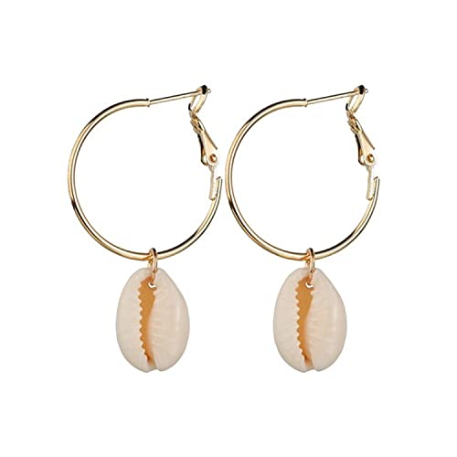 10 Pairs Fashion Big Ear Hoop Earrings Shell Earrings for Women Exaggerated Ocean Style Natural Conch Eardrop New Alloy Jewelry Gift