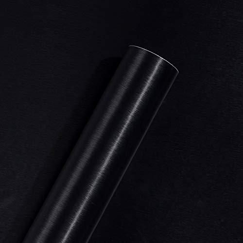 Autoadhesivo Negro Metal cepillado Película de vinilo de acero inoxidable para lavavajillas Nevera Refrigerador Estufa Electrodomésticos Muebles Etiqueta de pared Papel extraíble Impermeable 40CMX3M