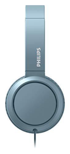 Philips Audio On Ear Kopfhörer H4105BL/00 mit Mikrofon (Inline-Fernbedienung, Zusammenklappbar, Abgewinkelter Anschluss, Gepolsterter Bügel, Geräuschisolierung) - Blau 2020/2021 Modell TAH4105BL/00