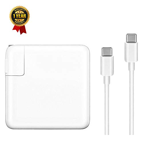 Replacement Charger for MacBook Pro, 61W USB-C to USB-C Ac Adapter Power Charger for MacBook Pro 12 inch 13 inch (61W USB-C)