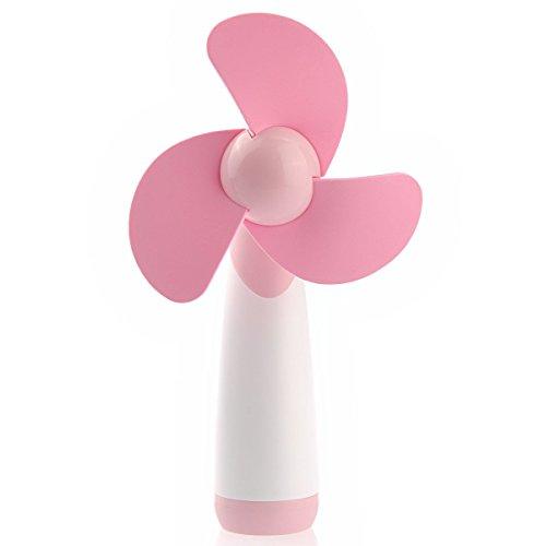 Tinksky Handventilator Batterie Mini Ventilator der Weichschaum-Blades Lüfter(Rosa)