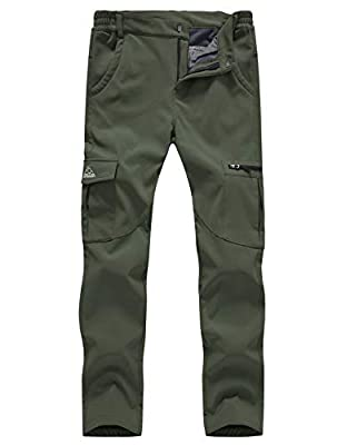 Gopune Women's Snow Ski Waterproof Softshell Snowboard Pants Outdoor Hiking Fleece Lined (Army Green,L)