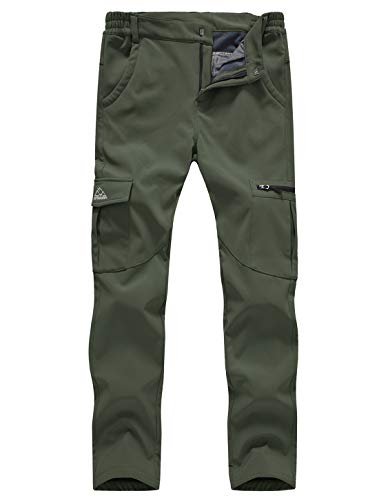 Gopune Women's Snow Ski Waterproof Softshell Snowboard Pants Outdoor Hiking Fleece Lined (Army Green,M)