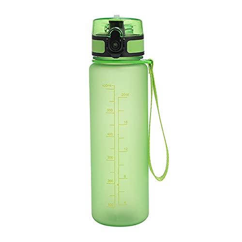 Mosako - Botella de agua de plástico reutilizable, sin BPA, 500 ml, antifugas, para niños y adultos, apta para senderismo, escuela, oficina al aire libre, fitness (A, verde)