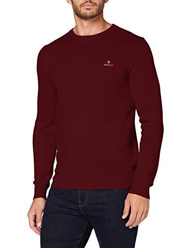 GANT Herren Cotton Pique C-Neck Pullover, Port RED, L