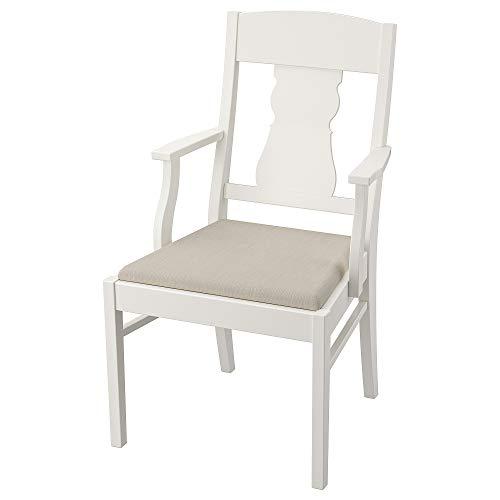 INGATORIP-stol med armstöd 57 x 63 x 99 cm vit/Nordvalla beige