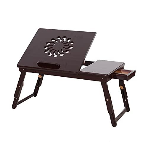 Mesa de centro pequeña Escritorio plegable de la tableta del regazo, mesa de la bandeja de la bandeja ajustable para la cama, la moda del girasol del girasol El escritorio del ordenador portátil, para