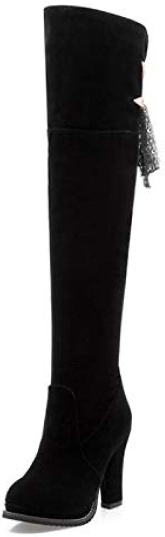 HAOLIEQUAN Frauen High Heel Overknee Stiefel Damen Warme Winter Bowtie Bowknot Schuhe Verdickter Reißverschluss Frau Schuhe Größe 33-43  | Spielen Sie auf der ganzen Welt und verhindern Sie, dass Ihre Kinder einsam sind