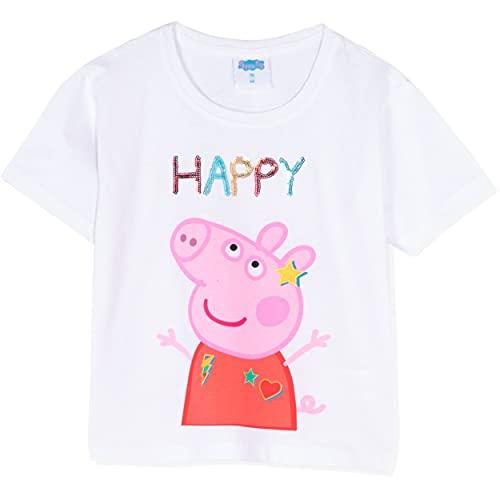 Peppa Pig Camiseta de manga corta oficial para niña, estilo holgado, 100% algodón, con lentejuelas 1-6 años