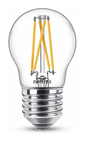 Philips LED Classic Bombilla, 40 W, P45 E27, Transparente, Luz Blanca Cálida, Regulable, Reproducción Cromática 90