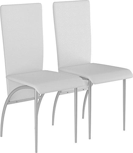 LifeStyleDesign 6620161 Stuhl Monique Doppelpack, Gestell Metall lackiert, PU Leder, 96 x 52 x 43 cm, weiß