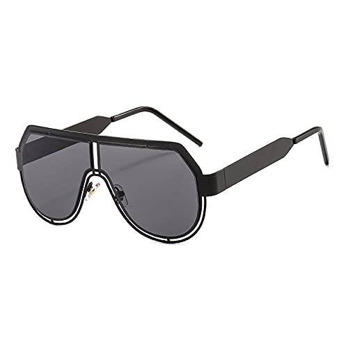 WANGZX Gafas De Sol De Gran Tamaño con Parte Superior Plana para Mujer Gafas De Sol Clásicas Retro Gafas De Sol Generosas para Hombres Y Mujeres Uv400 C1Negro-Negro