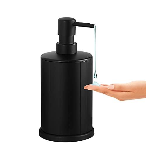 BVL - Dispensador de jabón negro, botella con bomba de 500 ml, fácil de apretar, dispensador de jabón y loción de metal antioxidante