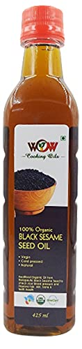 WOW Cooking Oils Certified Organic Virgin Cold Pressed Black Sesame Seed Cooking Oil 425 Ml
