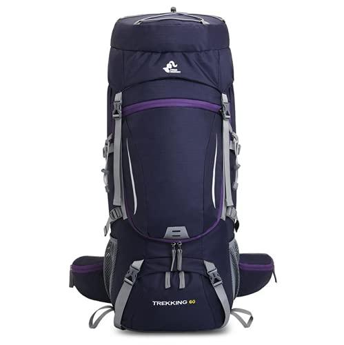 Zaini, 60 l, alpinista, escursionismo, viaggi, trekking, campeggio, attrezzatura da donna, impermeabile, pieghevole, copertura antipioggia (viola)