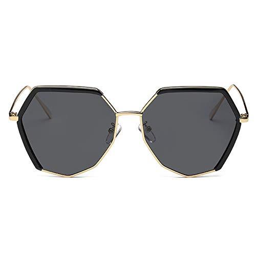 XFSE Gafas de Sol UV400 Negro Gris Metal Damas Polarizadas Gafas De Sol for Hombre Tendencia Irregular Rana Espejo (Color : Black)