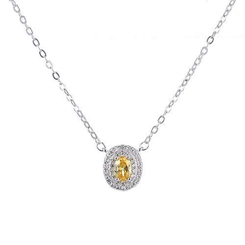 Collar de plata esterlina S925, colgante de diamante amarillo ovalado, minijuego de lujo, collar de diamantes amarillos, collar de temperamento para mujer