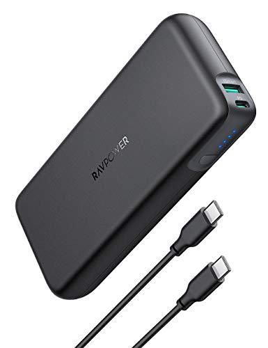 RAVPower 20000mAh Powerbank USB C Power Delivery (60W PD) Quick Charge 3.0 mit Type C Kabel für iPhone 11/11 Pro Max/XS Max/XR / 8 / X, iPad, Galaxy, MacBook Pro, Dell XPS, HP, Nintendo Switch usw.