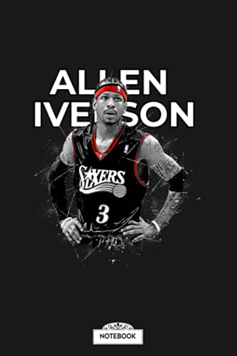 Allen Iverson Notebook: Planner, Diary, Lined College Ruled Paper, Journal, Matte Finish Cover, 6x9 120 Pages