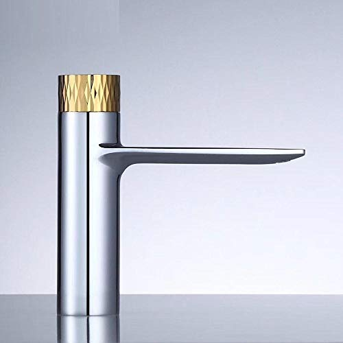 Cloudlesscc Grifo PULSADOR Grifo contemporáneo baño frío Caliente Mezclador de latón Cromado Grifo del Lavabo Cubierta Monte-Cromo y Oro para Fregadero (Color : Chrome and Gold)