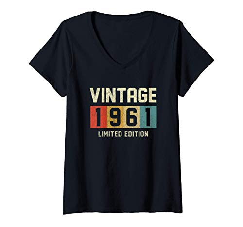 Womens 60 Year Old Gifts Vintage 1961 Limited Edition 60th Birthday V-Neck T-Shirt