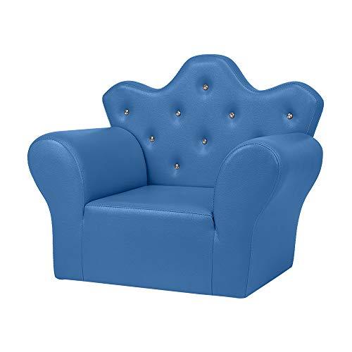 Divano per bambini in PVC in pelle principessa divano Mini divano blu brillante