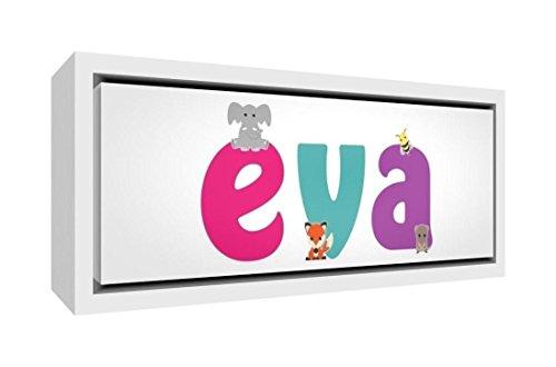 Little Helper LHV-EVA-1542-FCWHT-15IT Stampa su Tela Incorniciata Legno Bianco, Disegno Personalizzabile con Nome da Ragazza Eva, Multicolore, 19 x 46 x 3 cm