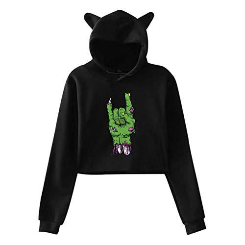 Zombie Main Cat Oreille À Capuche Chandail Filles Crop Top Hip Hop Warm Cool(XL,Noir)