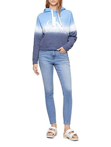 Calvin Klein Women's Dip Dye Logo Hoodie Sweatshirt, Waterdrop Combo, Small