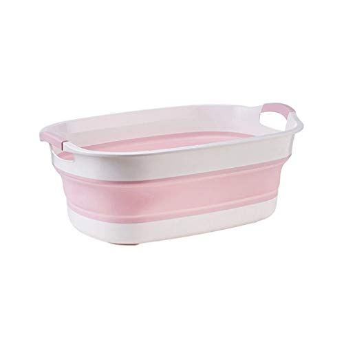 LIMUZI Pet Opvouwbare Bathing Tub Plastic wasmand - Foldable Pop Up Opslag Container/Organizer - Portable Wassen Tub (Color : Pink 60 * 40 * 22CM)