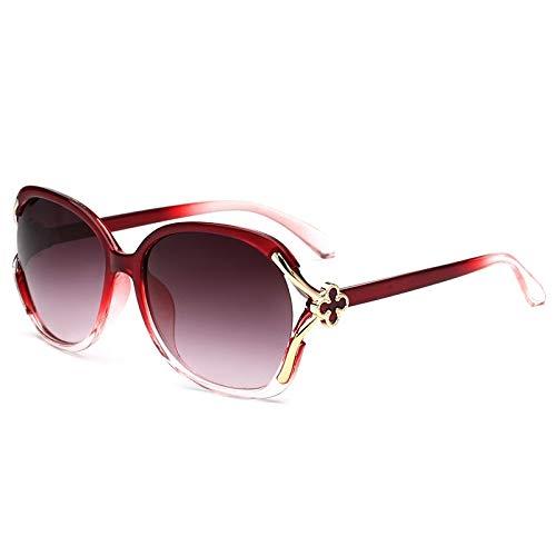 Gafas de Sol Vintage Gafas de Sol Mujeres Oval Big Frame Sun Glasses UV400 Gafas de Sol de Moda Vintage (Lenses Color : C4 ClearRed)