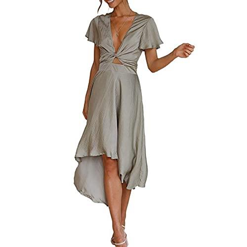 Vestidos de verano para mujer, cuello en V, liso, irregular, de manga corta, con tiras, casual, largo, para fiesta, elegante, talla Reino Unido