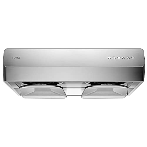 """FOTILE Pixie Air UQS3001 30"""" Stainless Steel Under Cabinet Range Hood, 800 EQUIV. CFMs Kitchen Over Stove Exhaust Vent with LED Lights Dual AC Motors and Mechanical Buttons"""