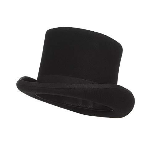 IUSGAND 13,5 cm 100% Sombrero de Fieltro para Hombres, Sombreros para Mujeres, Disfraz de Sombrerero Loco, Sombrero cilndrico, Sombrero Derby de Caballero, Gorra de Mago, L (59 cm), Negro