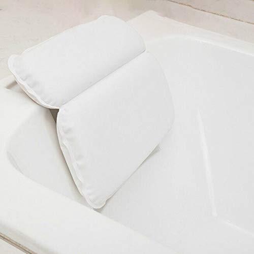 Yajun Casa Almohada de Baño con Ventosa Diseño Impermeable Relajante Cabeza Cuello Espalda y Hombros Cojín Ergonómico Cojín para Ducha de Baño Blanco