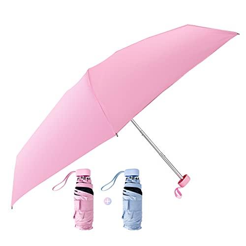 Trosetry Sun Parasols, 2 Pack Portable Umbrella Windproof Sun Protection UV Umbrellas Lightweight...