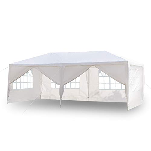upstartech Gazebo with Sides 3m x 6m, Garden Gazebo Canopy Water Resistant Sun Protection/Anti-UV, Marquee Tent Outdoor Shelter with 4 Side Panels 2 Doors for Patio Backyard Sunshade and Rain