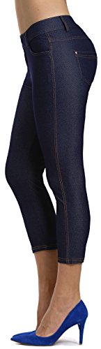 Prolific Health Women's Jean Look Jeggings Tights Slimming Many Colors Spandex Leggings Pants Capri S-XXXL (XX-Large, Navy Blue Capri)
