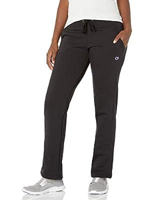 Champion Women's Fleece Open Bottom Pant, Black, Large