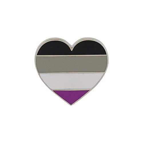 WizardPins Asexual Pride Heart Shaped Flag LGBTQIA+ Enamel Pin - 1 3M Metal Badge