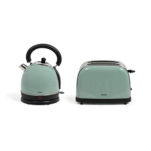 Set de desayuno tostadora de agua vintage – hervidor de agua retro eléctrico menta 1,8 litros 1800 W – 2 rebanadas tostadoras de acero inoxidable 900 W termostato 5 niveles