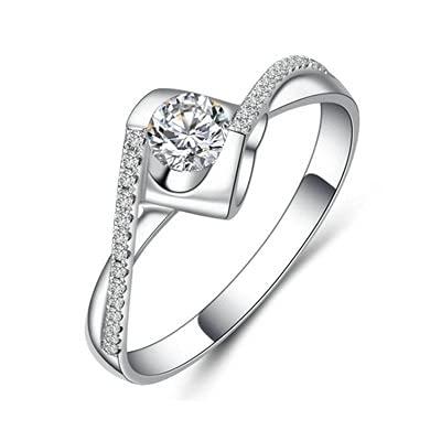Bishilin Anillo de Mujer 750 Anillo de Compromiso, 0.22ct Diamante Anillo de Compromiso de Matrimonio Ajuste Cómodo Regalos para Cumpleaños Navidad 0.22ct Diamantetamaño: 15