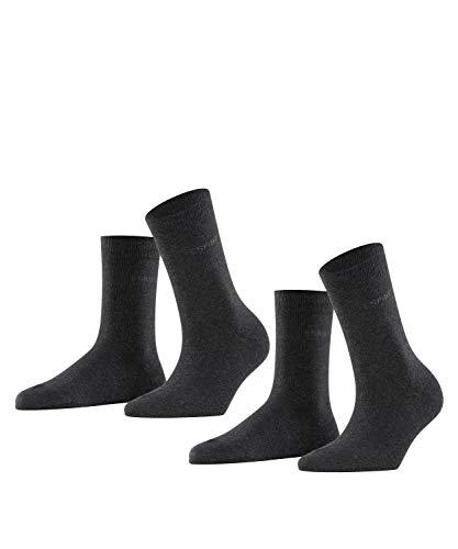 ESPRIT Damen Socken Uni 2-Pack, Baumwolle, 2er Pack, Grau (Anthracite Melange 3080), 35-38 (UK 2.5-5 Ι US 5-7.5)
